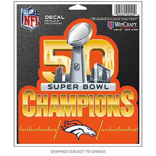 Denver Broncos Official NFL Super Bowl 50 Champions Decal by Wincraft 450272 (Decal 50)