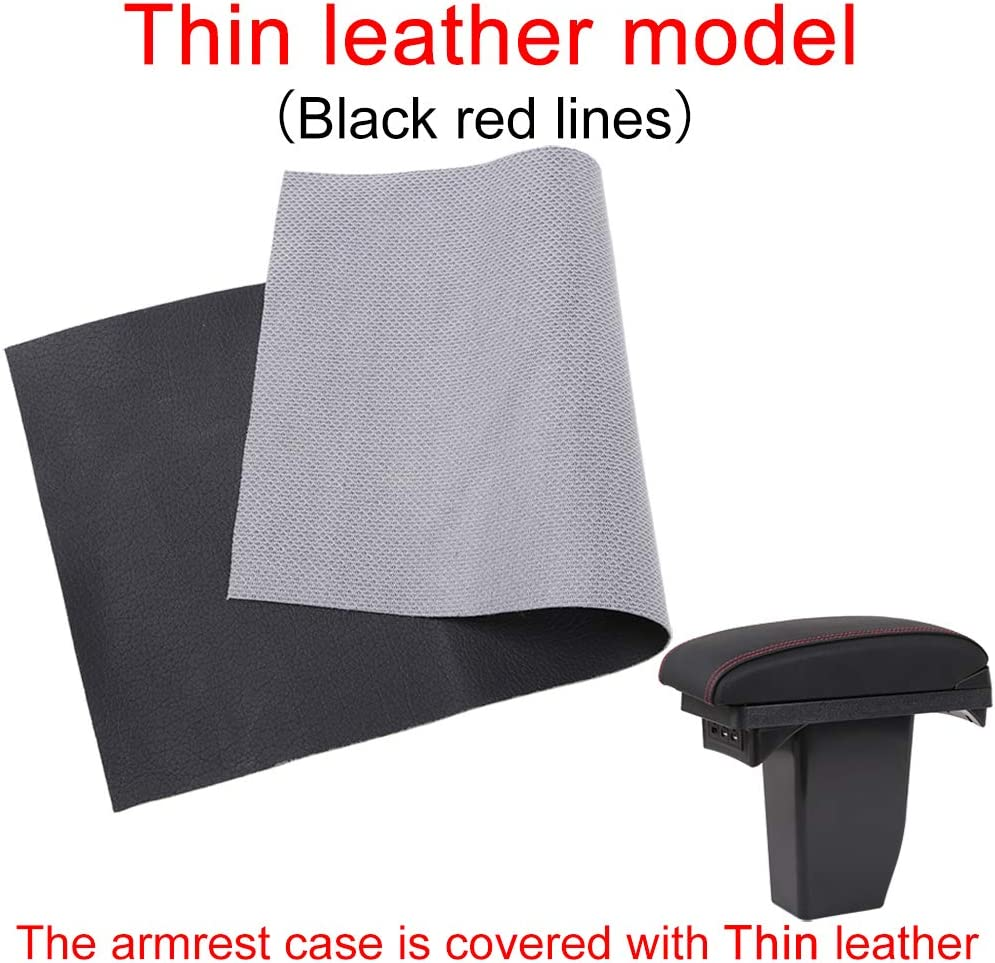Thick leather model, Black red line Double space panels retractable armrest box For 2008 Centre Console Storage Box Armrest