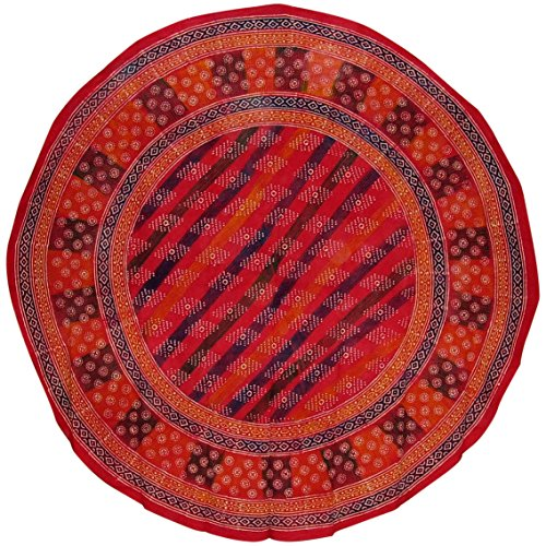 - India Arts Hand Block Printed Round Cotton Tablecloth 88