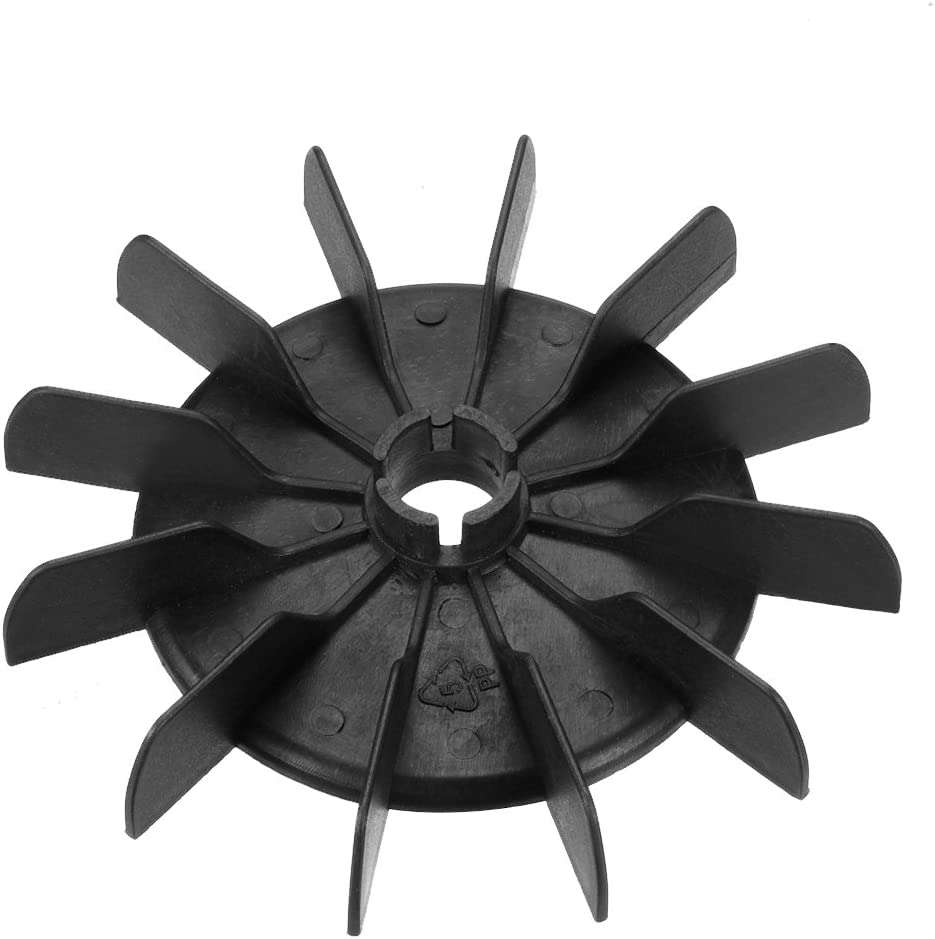 sourcing map Motor Fan Blade 142mmx18mm Round Shape Bore Black Engineering Plastic with 12 Vanes