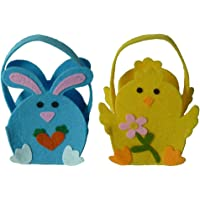Amosfun 2pcs Easter Bunny Bags Easter Candy Tote Bag Eggs Hunt Basket Gifts for Kids Easter Party