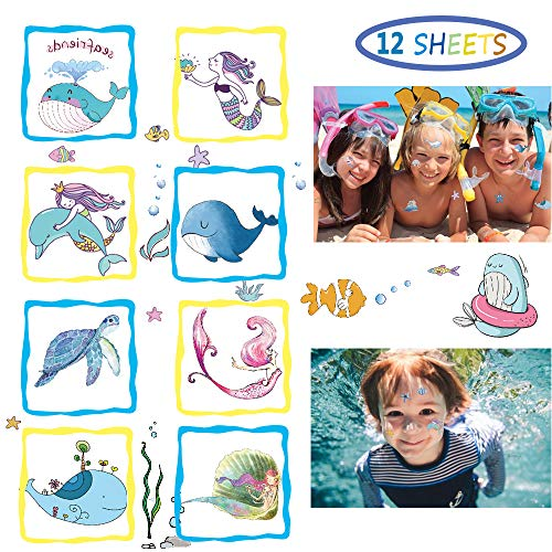 188PCS Ocean Temporary Tattoos for Kids - Mermaid, Dolphin, Whale Tattoo Body Stickers - Cartoon Tattoos Sticker for Boy Girl Birthday Party Decorations Supplies Favors(12 -