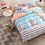 WarmGo Home Bedding Set for Adult Kids Pattern Design Duvet Cover Set 4 Piece(Include 2 Personality Pillowcase Full/Queen Size without Comforter