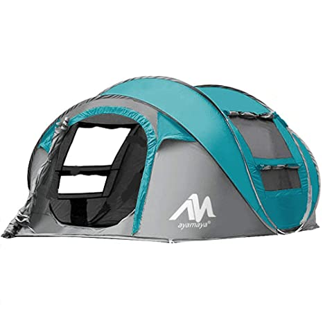 5566507c7b0e AYAMAYA Tents 3-4 Person/People/Man Instant Pop Up Easy Quick Setup,  Ventilated [2 Door] [Mesh Window] Waterproof 4 Season Big Family Privacy  Dome ...