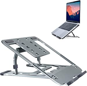 "Laptop Stand Adjustable Height,Portable Laptop Riser Stand for 7.9~17""Laptop/Tablet,Fordable Metal Computer Stand for Laptop MacBook Arc,Notebook,Pro Air Lenovo,HP,Dell(Sturdy,40KG Bearing,Sky-Gray)"