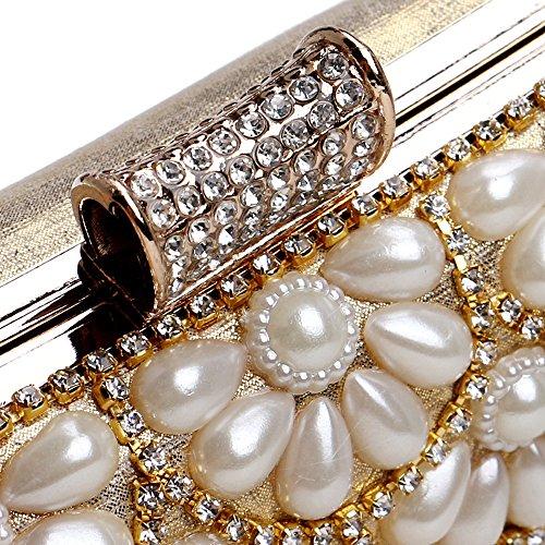 de Perlée Petite Femmes Sacs gold Bonbons Main Chaîne Cristal TuTu Poche Pochette Soirée Couleur Épaule Mode Mixte À Sac Bourse Spqc0C