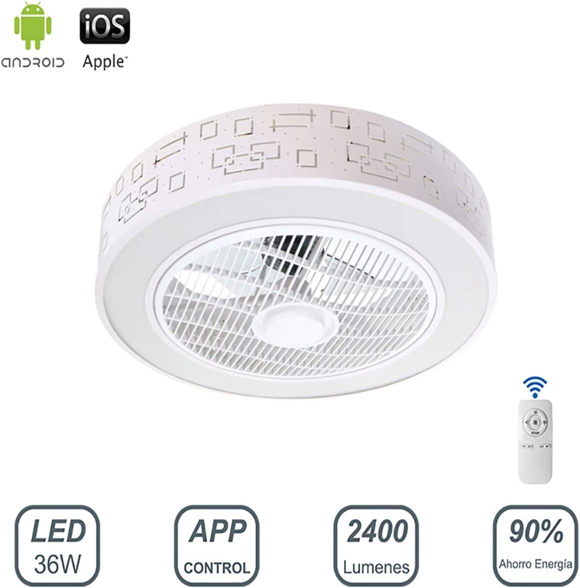Ventilador de Techo con Lámpara LED 36W Ventilador Invisible App Control con Mando a Distancia Luz Regulable Luz Fría/Neutra/Cálida Φ51*H20cm