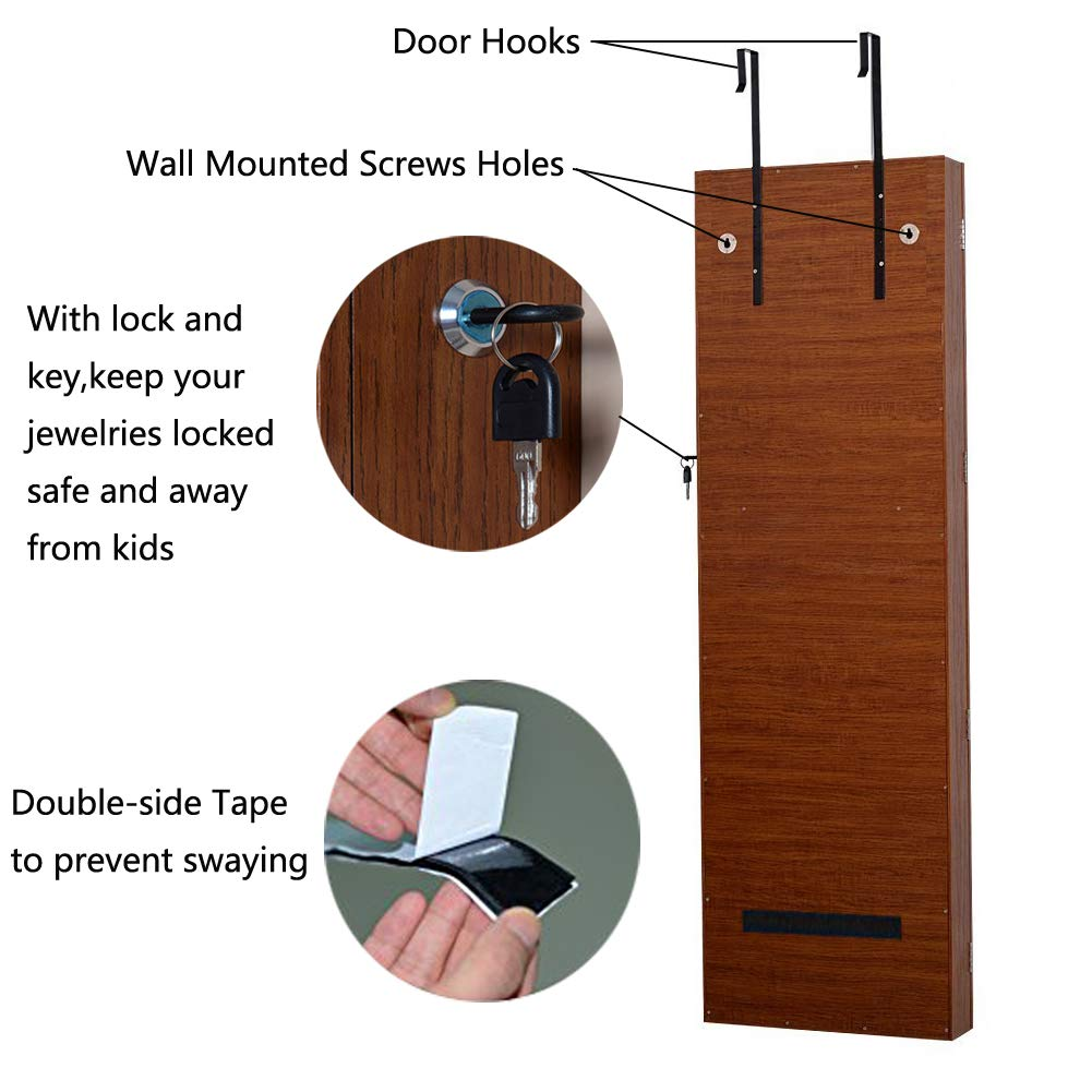 Amazon.com: Organizedlife Oak Mirrored Jewelry Cabinet Case With Lock Wall/ Door Mount: Home U0026 Kitchen