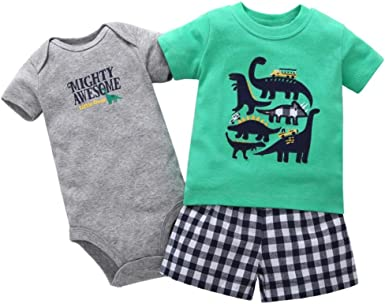 LNGRY Toddler Infant Baby Girls Cartoon Dinosaur Print Dresses Clothes Outfits