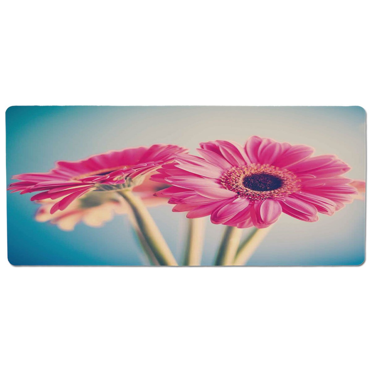 35.4\ Pet Mat for Food and Water,Floral,Vintage Gerbera Flower Petals in Hazy Picture Romantic Summer Theme Print,Light bluee Hot Pink,Rectangle Non-Slip Rubber Mat for Dogs and Cats