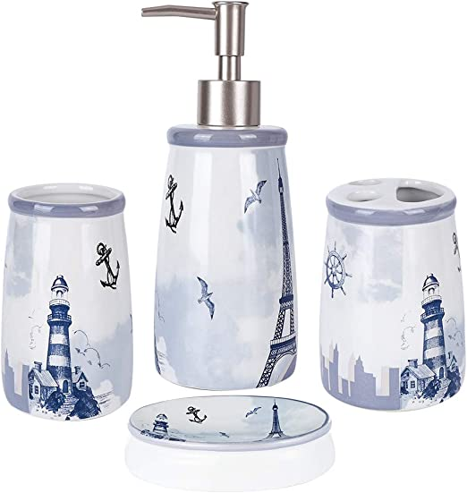 Jotom Modern Design 4 Pieces Ceramic Bathroom Accessory Set Bath