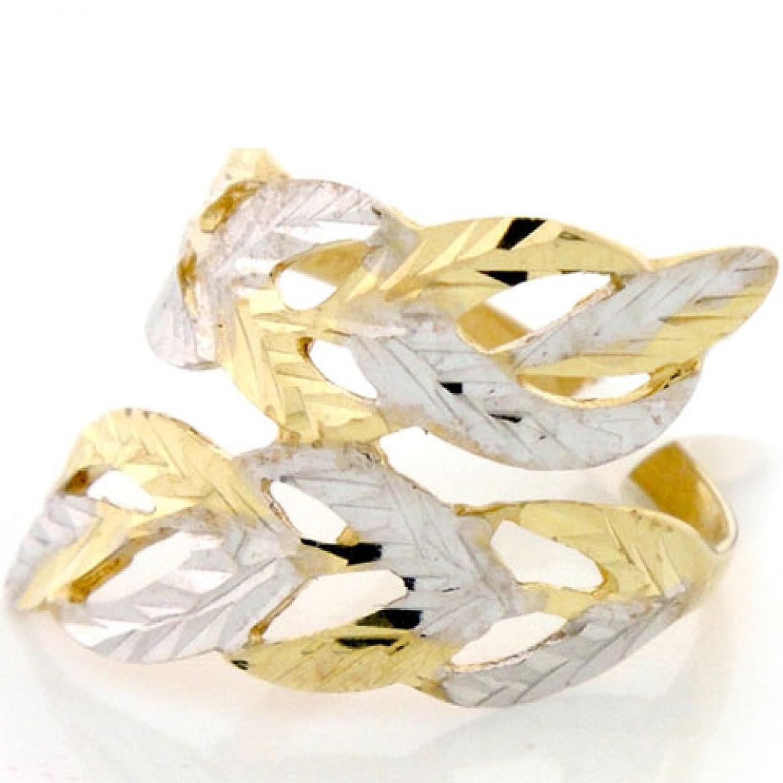 10 Kソリッドゴールドツートーンリーフダイアモンドカットユニークリング B076F988G3