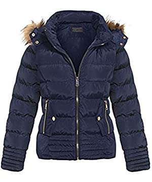 Womens Fur Trim Detachable Hood Zip Bubble Shower Proof Fastening Puffer Padded Quilted Thick Warm Winter Coat Jacket_G135_Navy_S