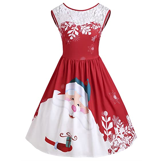 New Christmas Party Dress Women Autumn Lace Insert Santa Claus Print Vintage Dresses Female Retro Feminino