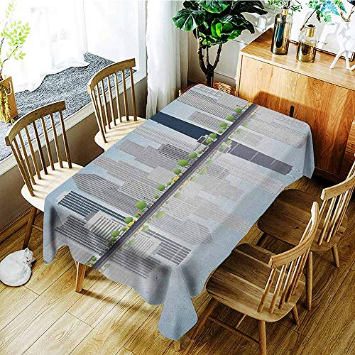 Chicago Skyline Easy to Care for Leakproof and Durable Long tablecloths Skyscrapers Lake Michigan Illinois Classic American Scenery Street Outdoor Picnic W60 x L126 Inch Baby Blue Pale Grey