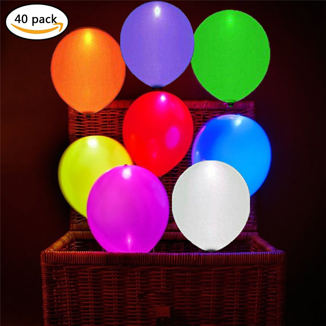 LED Light up Balloons - 40 PCS in 8 Colors LED Balloons-Great Idea to Light Up Your Party- Flashing Balloons Light for Party/Birthday/Wedding/ Festival/Club/Bar