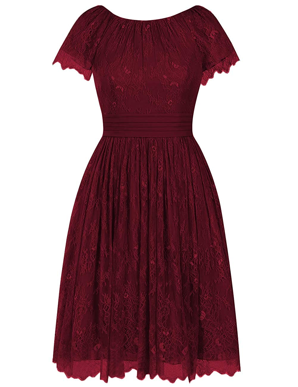 Burgundy Short Bridesmaid Dresses Flora Lace Cocktail Prom Gowns Homecoming Formal Party Dress