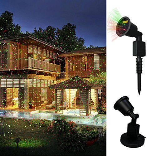 Christmas Lights, DRILLPRO Garden Projector Lights - LED Red and Green Light Landscape Outdoor and Indoor for Party, Bedroom, Wedding, and Christmas Halloween (Right This Minute Happy Halloween)
