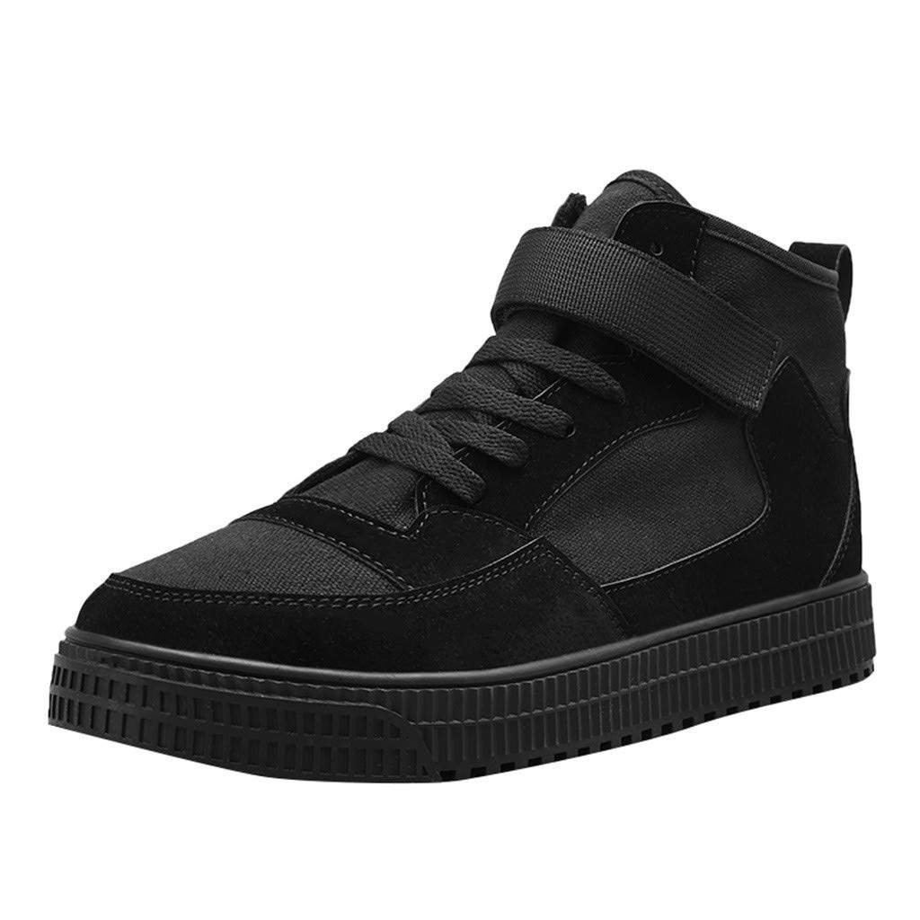 Haalife◕‿Men's Casual high top Platform Sneakers Athletic Casual Leather Shoes Fashion Ankle Booties for Men Black