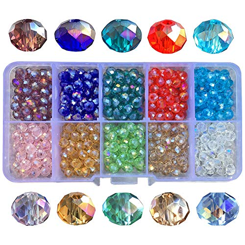 Chengmu 6mm AB Colour Rondelle Glass Beads for Jewelry Making Faceted Briolette Shape 500pcs Multicolor Crystal Spacer Beads for Bracelets Necklaces with Elastic Cord Storage Box ()