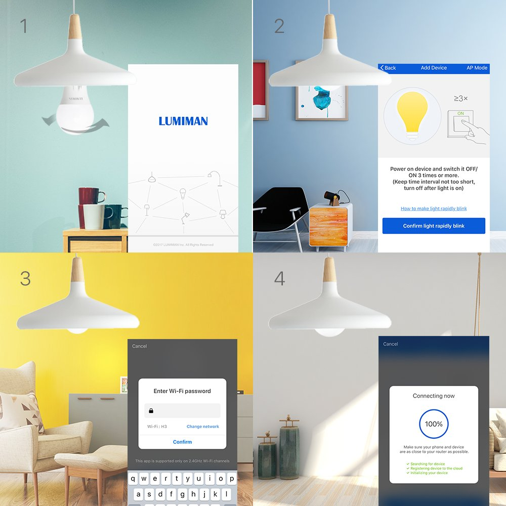 Dimmable Warm White and A19 E26 Edison Bulb No Hub Required Compatible with Alexa and Google Home Wifi Smart Light Bulb with 50W Equivalent Smart Light Bulb LUMIMAN LM510