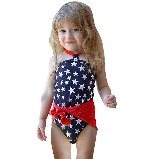 0de79d63f0519 Amazon.com: Luonita Toddler Infant Baby Girls 4th of July Star Wrap Swimsuit  Bikini Swimwear Bathing Suit 12M-5T: Clothing