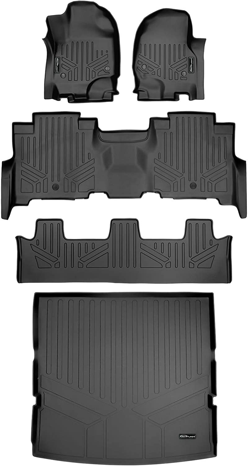 MAXLINER 3 Row Floor Mats & Cargo Liner Behind 2nd Row Set Black for 2018-2021 Ford Expedition/ Lincoln Navigator with 2nd Row Bench Seat (No Max or L Models)