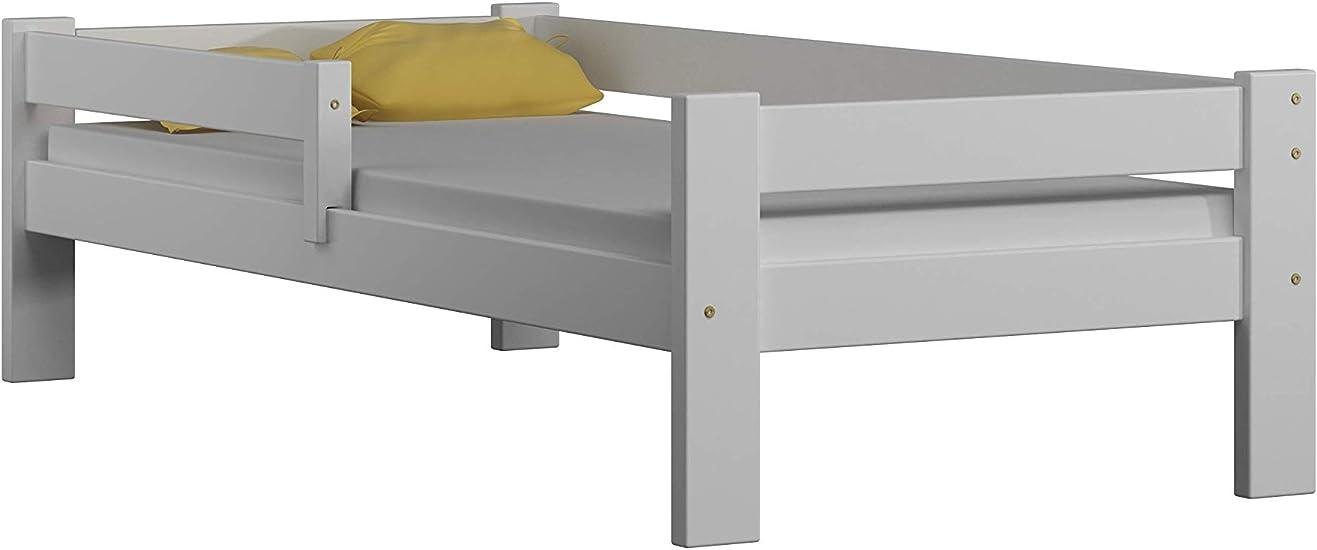 Childrens Beds Home Cama Individual de Madera de Pino Macizo - Sauce sin cajones ni colchón Incluido (140x70, Blanco)
