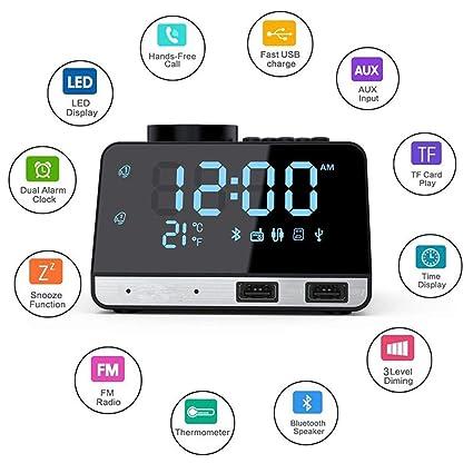 Radio reloj despertador con Bluetooth Mini relojes de alarma ...