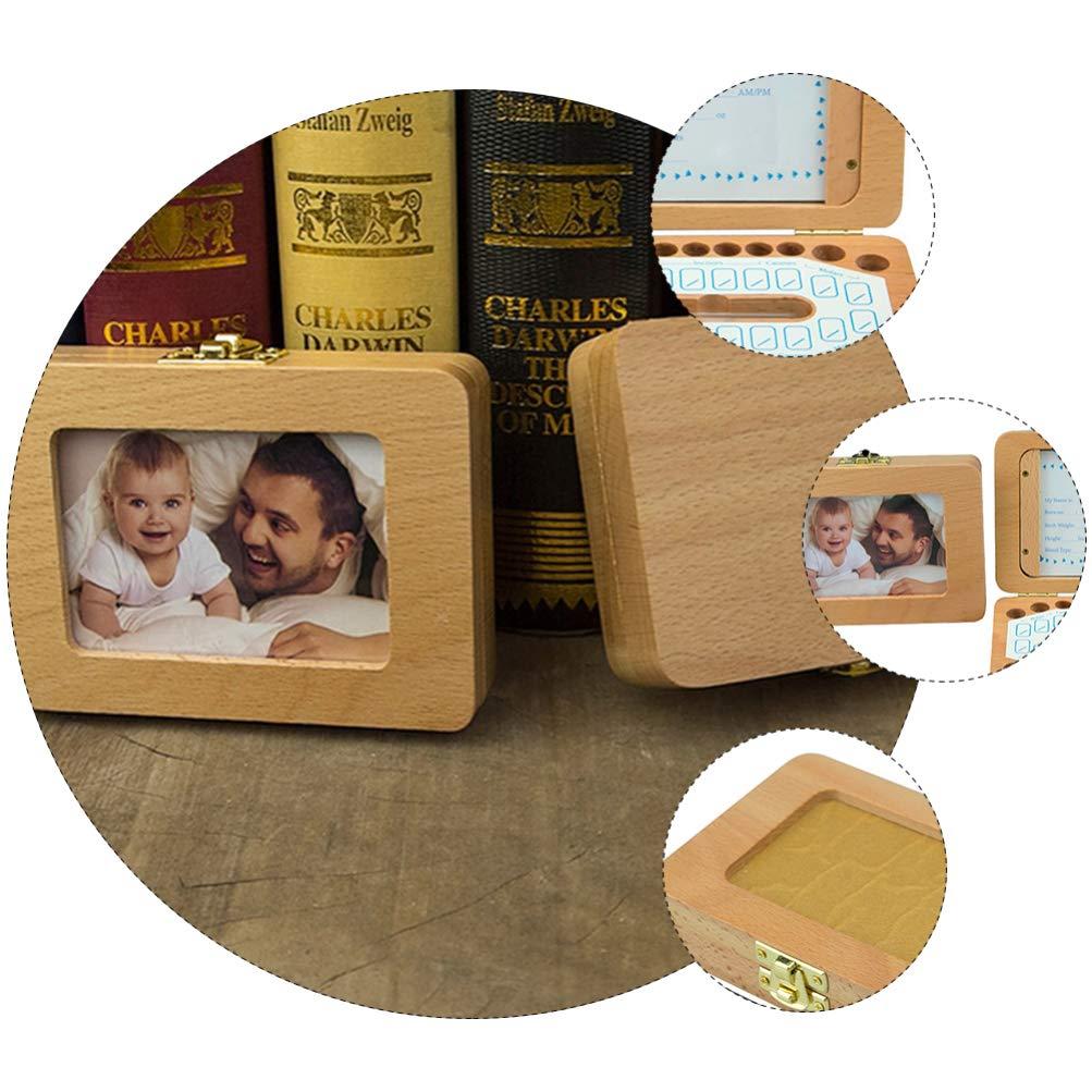 TOYANDONA 1 Set Baby Teeth Keepsake Box Holder Tooth Fairy Holder Kids Wooden First Lost Tooth Collection Storage Organizer