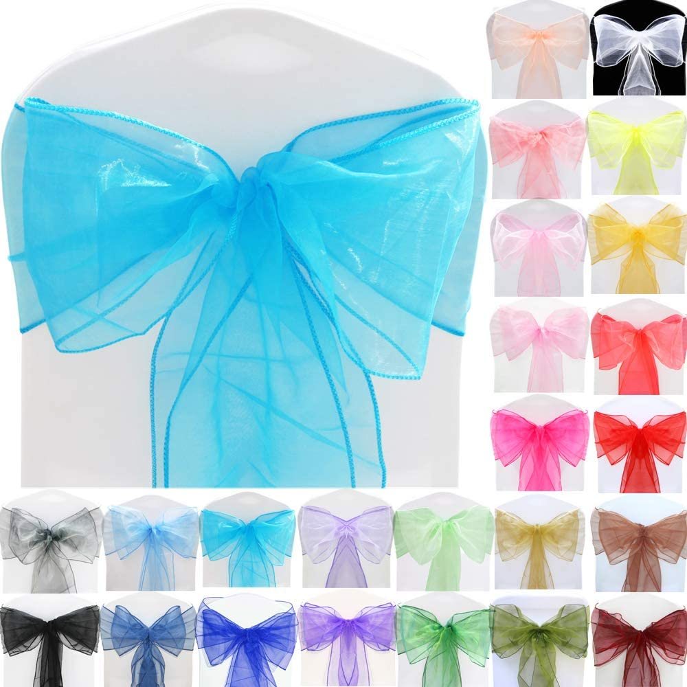 Time to Sparkle TtS 22x280cm Organza Sashes Wider Sash Fuller Bows Chair Cover Bows Sash for Wedding Party Birthday Decoration, Aqua