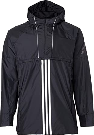 49c05469acd0 Image Unavailable. Image not available for. Color  adidas Men s Windbreaker  Black Jacket Rain Coat Hooded ...