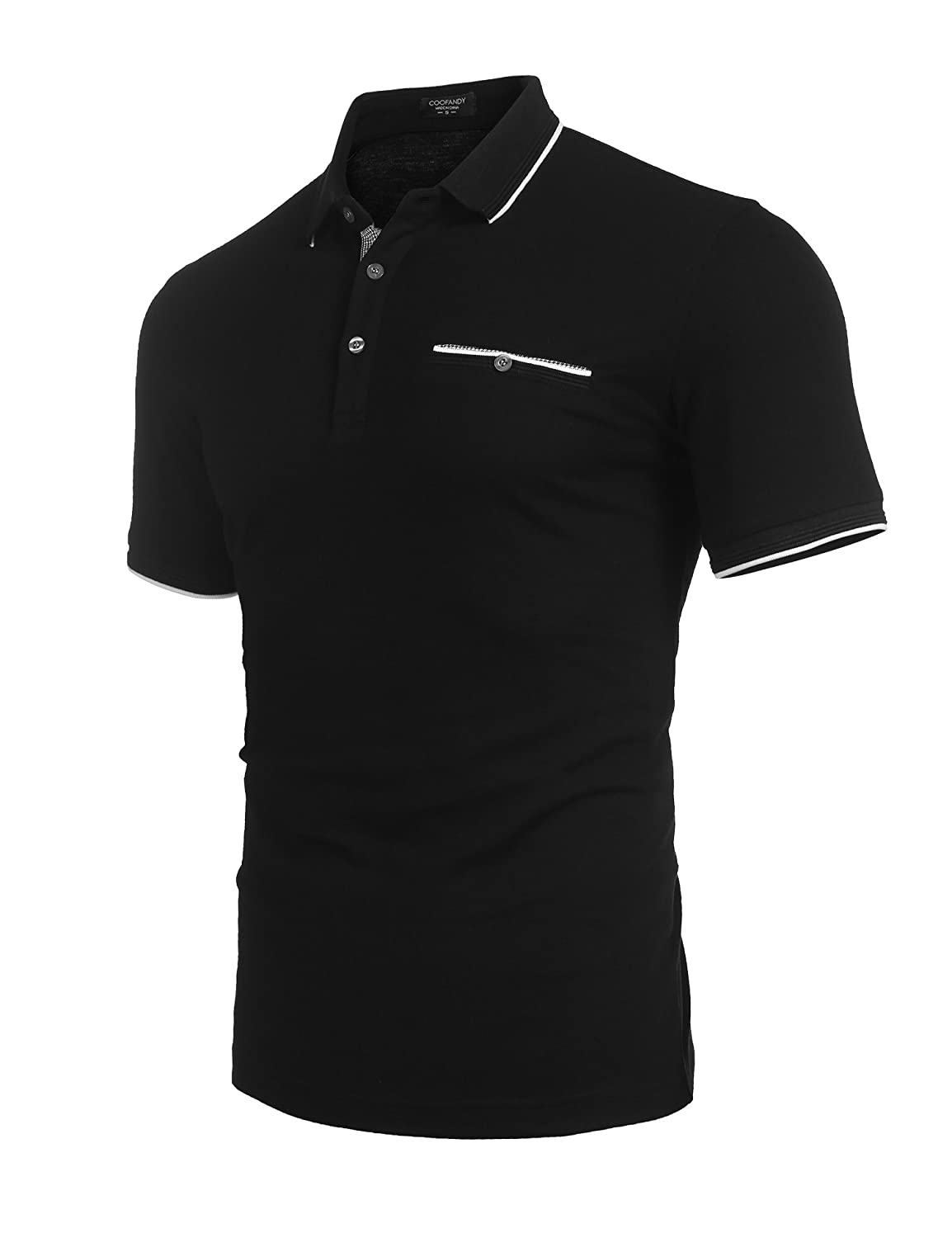 Coofandy Mens Long Sleeve Polo Shirt Classic Casual Business Slim Fit Cotton Polo T Shirts