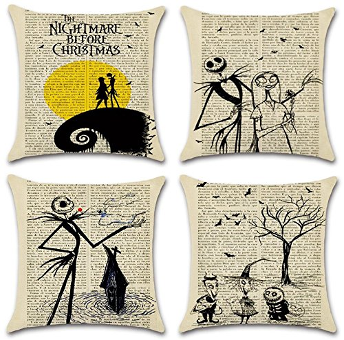 (Hixixi 4-Pack Happy Halloween Skull Vintage Newspaper Christmas Night Throw Pillow Case Cotton Linen Sushion Cover Pumpkin Xmas Room)
