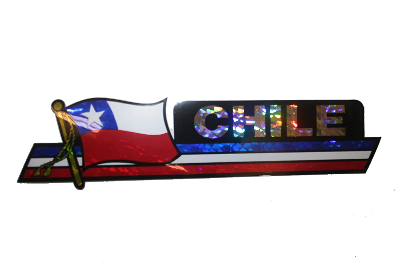 Chile LONG Country Flag Metallic Bumper Sticker Decal . 30 x 7.5 Cm . Size New