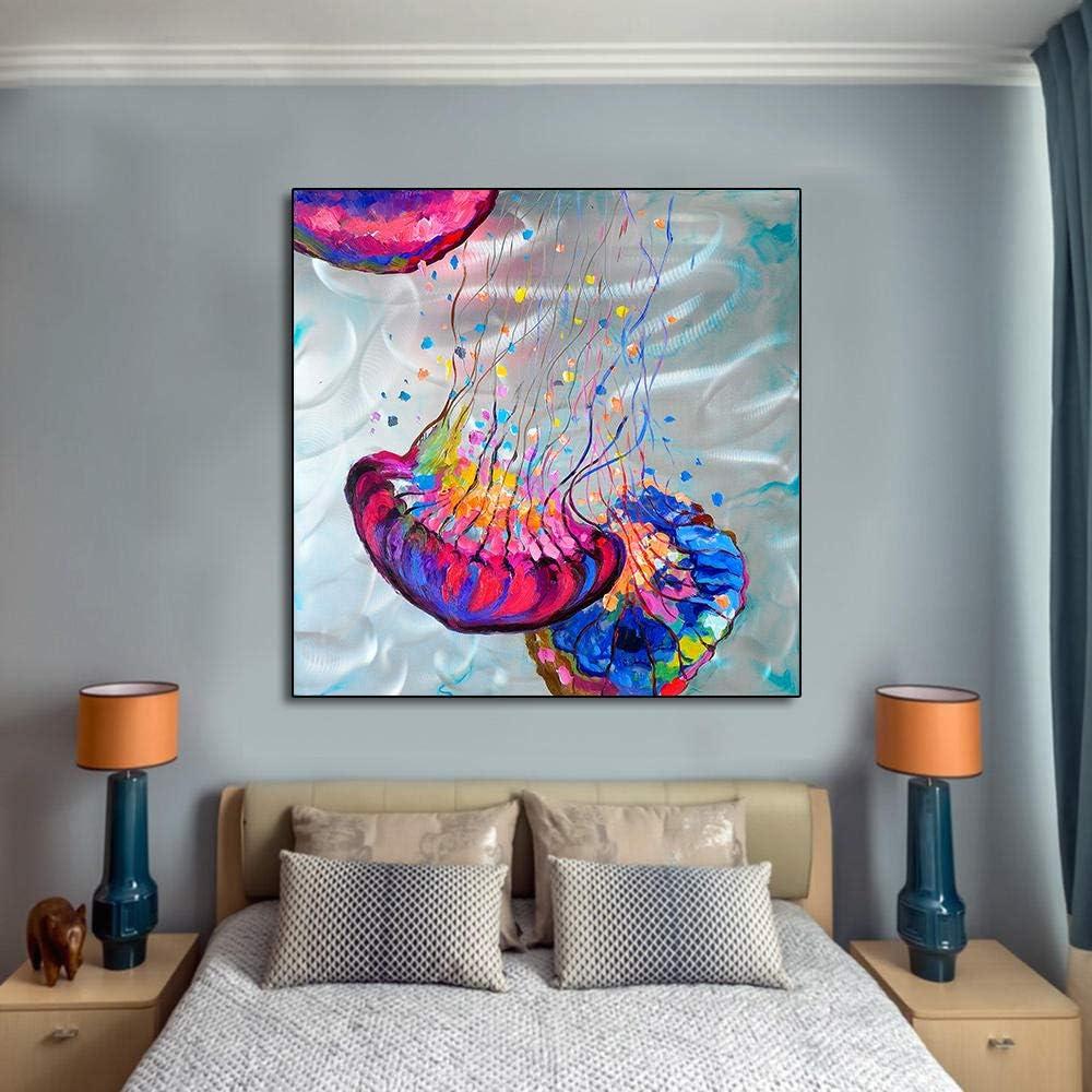 AmilArt Cartel y Pintura Moderna Abstracta Colorida Medusa en Lienzo Pared Arte Cuadros para Sala de Estar Dormitorio decoración del hogar 50x50cmx1