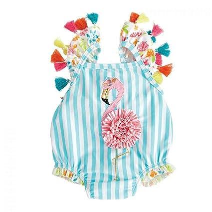 Traje de baño de una Pieza con Flamenco y Flamenco, para niñas y bebés, Traje de baño para la Playa, Adorable, con borlas, Floral, Dibujos Animados, ...