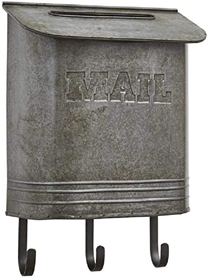 Tin Olive Mail Box Wall Mount Container Galvanized Bin Old Country Style