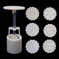 Hijing 6 Rose Flower Stamps Moon Cake Decor Mould Round Mooncake Mold Tool 50g DIY,