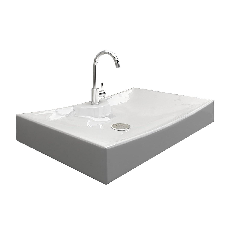 Lux-aqua Waschtisch Waschbecken zur Wandmontage mit Nano Beschichtung 4145D-N