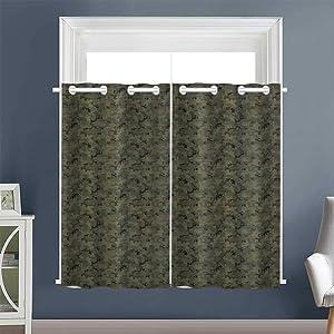 decor Darkening Curtains Digital Pixel Camo grommets sliding Darkening Curtains room/bedroom Camouflage ArmyGreen SlateBrown CharcoalGrey DarkTaupe (1 Pair, 42