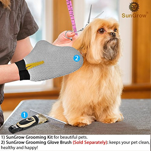 SunGrow All Inclusive Pet Grooming Kit - Quiet and Comfortable Fur Clipping Set from Contains 4 Comb Attachments, Cleaning Brush and Lubricating Oil - Trims fur on Dogs, Cats & other Family Pets by SunGrow (Image #5)