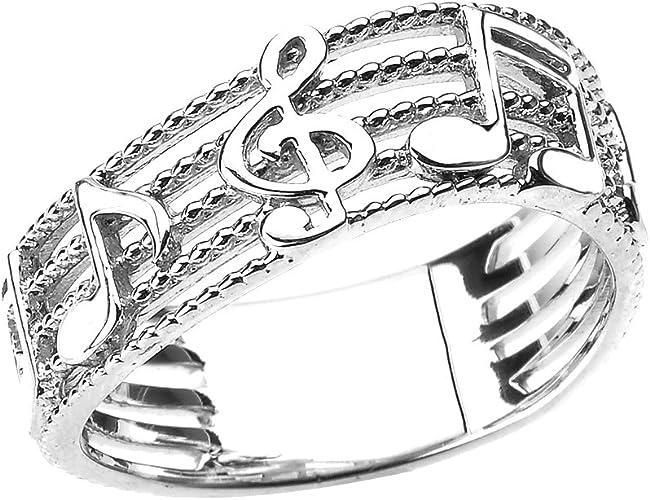Clave notas 925 real plata anillo nota musical clave