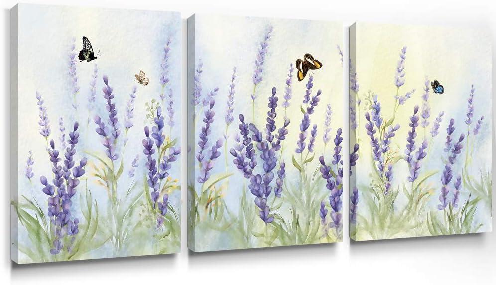 Slody Purple Wall Art Flower Modern Lavender Canvas Prints Butterfly Floral Picture Spring Landscape Botanical Framed Artwork for Bedroom Living Room Bathroom Kitchen Home Decor 12×16 Inch, 3 Panels