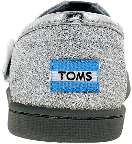 TOMS Girl's Classic Canvas Silver Glimmer Ankle-High Fashion Sneaker - 10M - Image 2
