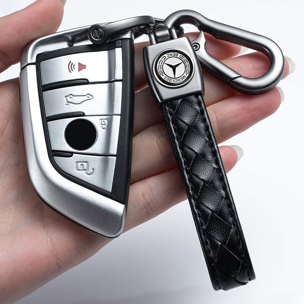Genuine Leather Car Logo Keychain for Dodge Ram Key Chain Accessories Keyring with Logo(Black)