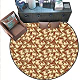 Mushroom Non-Slip Round Rugs Organic Food Porcini Mushroom with Vintage Grunge Display Harvest Farmland Living Dinning Room and Bedroom Rugs (5' Diameter) Cocoa Brown Beige -  Anshesix
