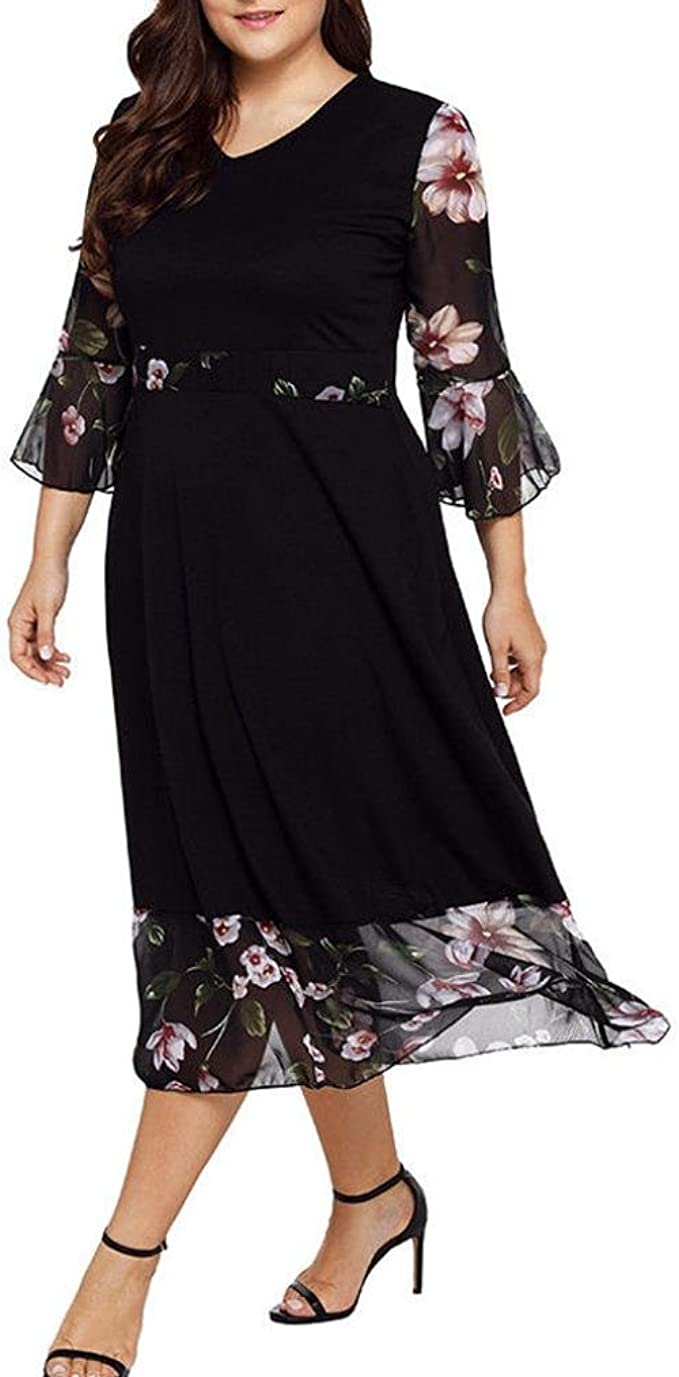 Longra Damen Sommerkleider Große Größen Chiffonkleider Blumenmuster Kleider  18/18 Ärmel Midi Kleider V-Ausschnitt Schöne Kleider Elegante Cocktailkleid