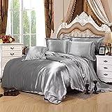 uxcell Silver Gray Satin Silk Duvet Cover Bedding Set Cushion Cover Pillow cases Set,Silk Sheet,Queen Size