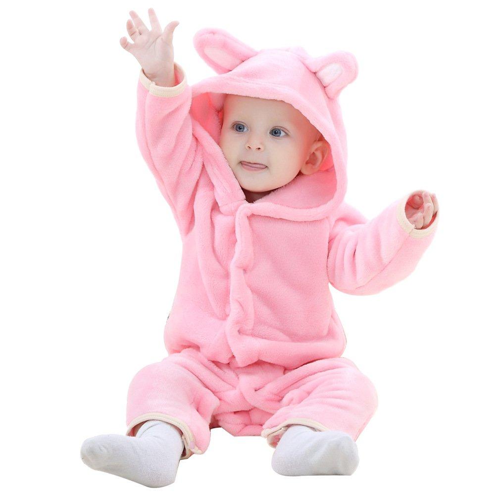 Pagliaccetto Neonato Inverno con Cappuccio Flanella Tutina Animali Cosplay Costume Animale Bambina e Bambino Orso Pigiama Kigurumi Natale per Feste di Compleanno Carnevale e Halloween – Landove